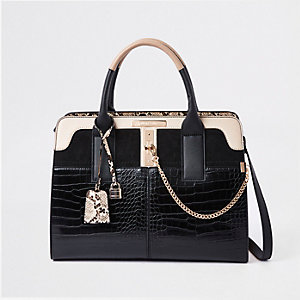 Black croc detail lock front tote bag