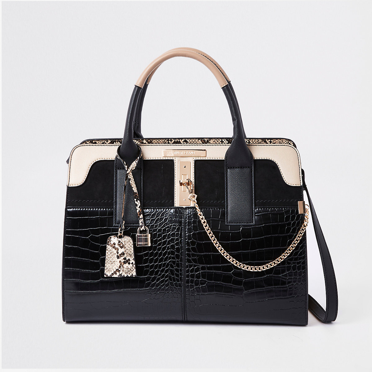 762b0f416aa5 Black croc detail lock front tote bag - Shopper   Tote Bags - Bags   Purses  - women