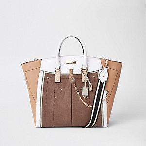 Tote Bag in Beige-Metallic