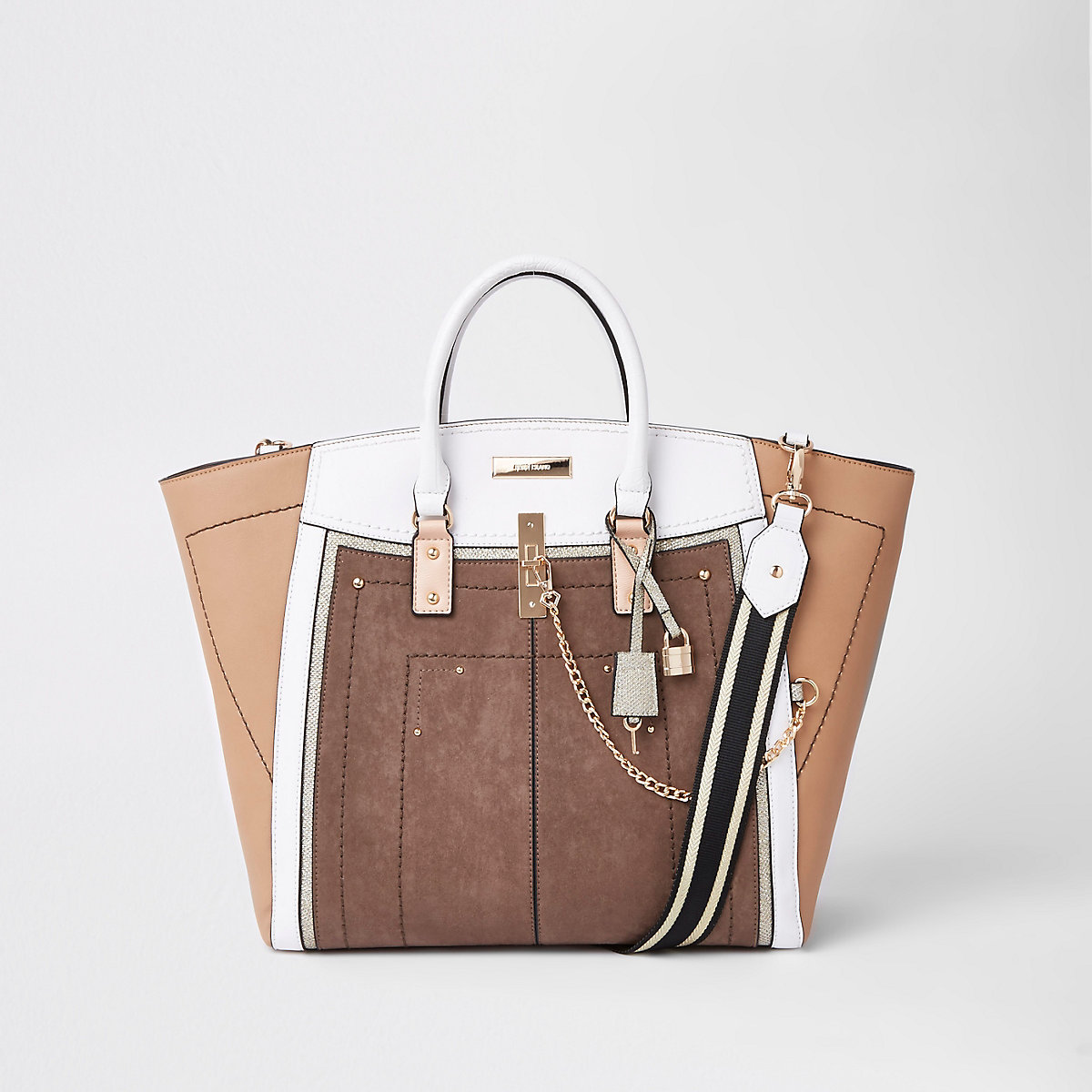 Beige metallic winged contrast trim tote bag