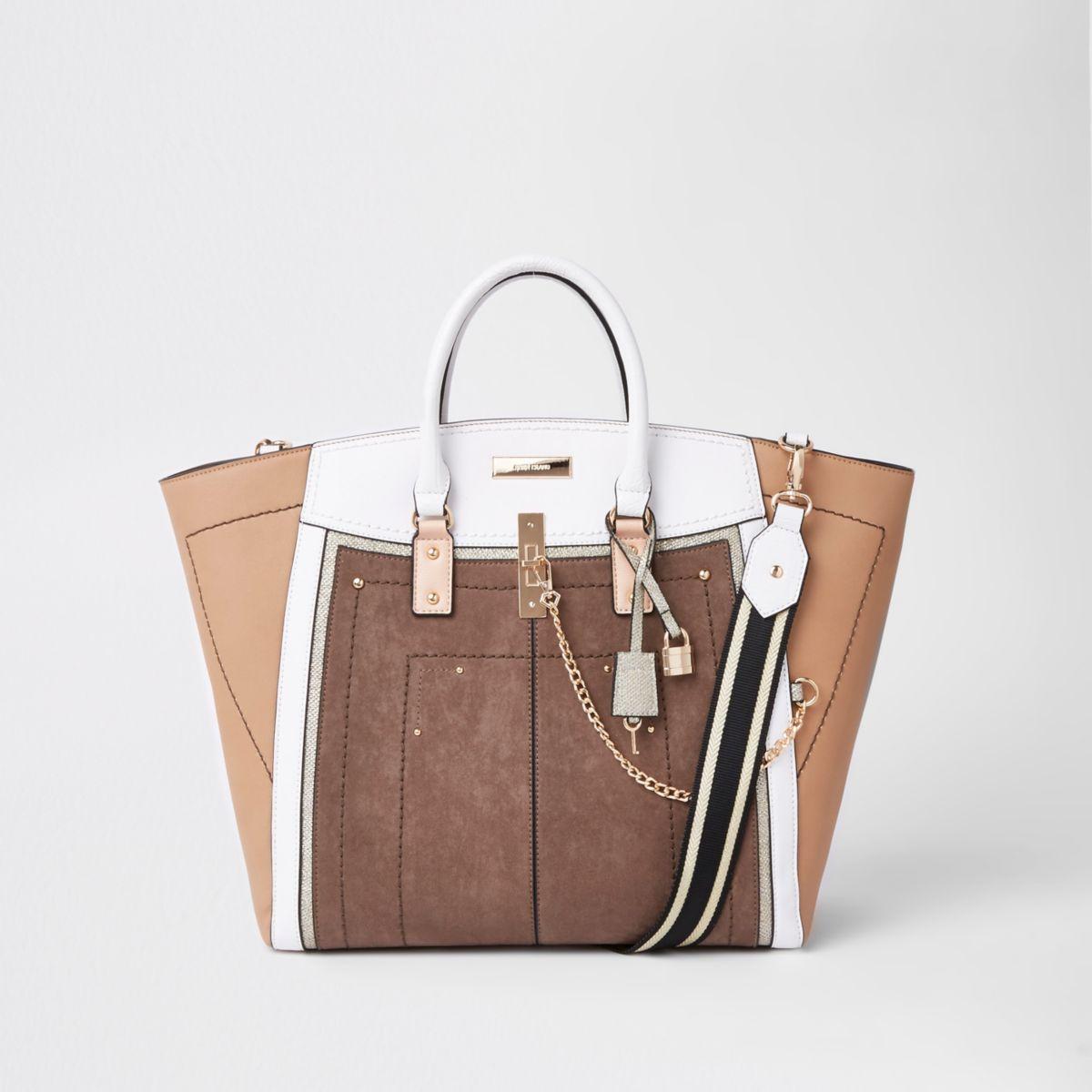 Beige metallic winged contrast trim tote bag