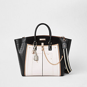 Black large winged contrast tote bag