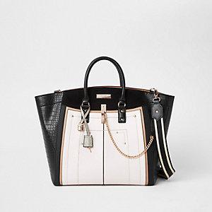 Zwarte grote handtas met contrast en zij-inzetten