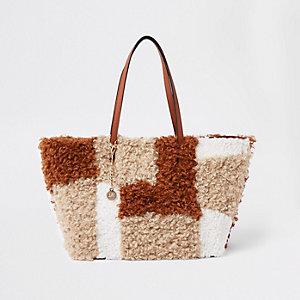 Beige fleece patch textured tote bag