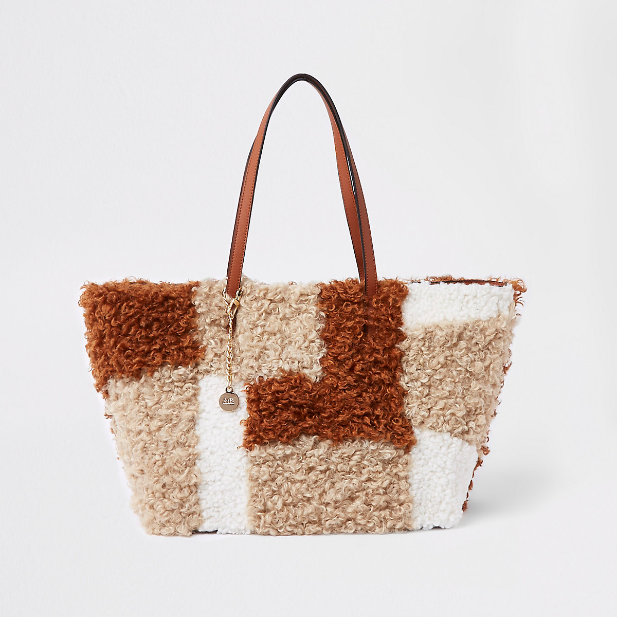 Beige borg patch textured tote bag