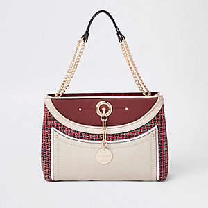 Red mixed texture check print tote bag