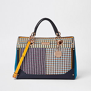 Purple check tote bag