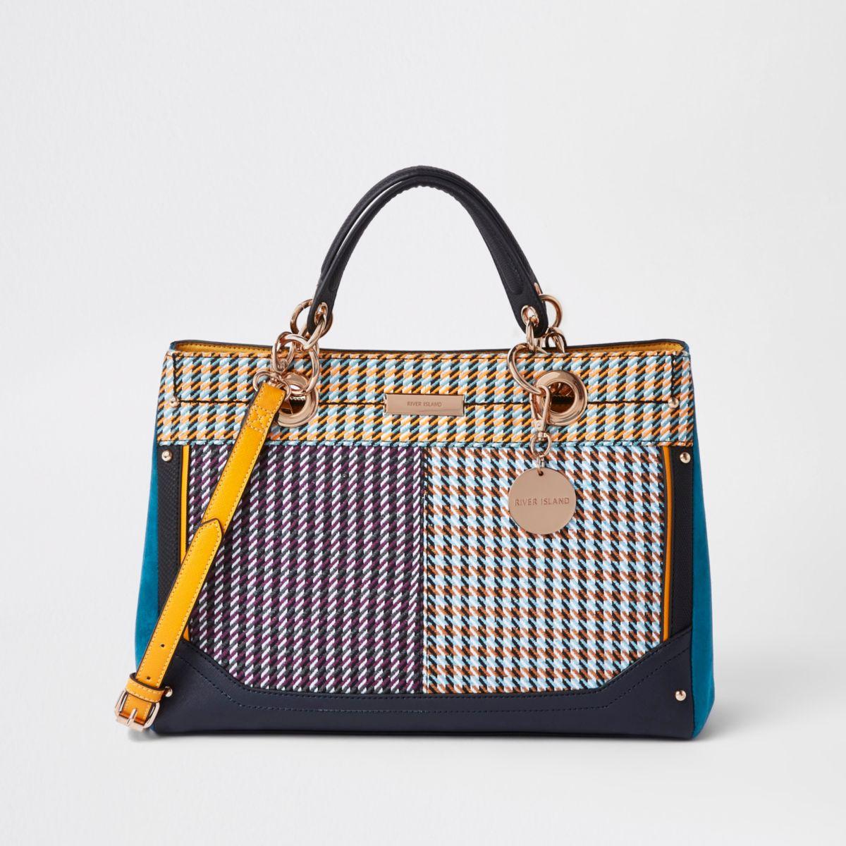 Purple check tote bag