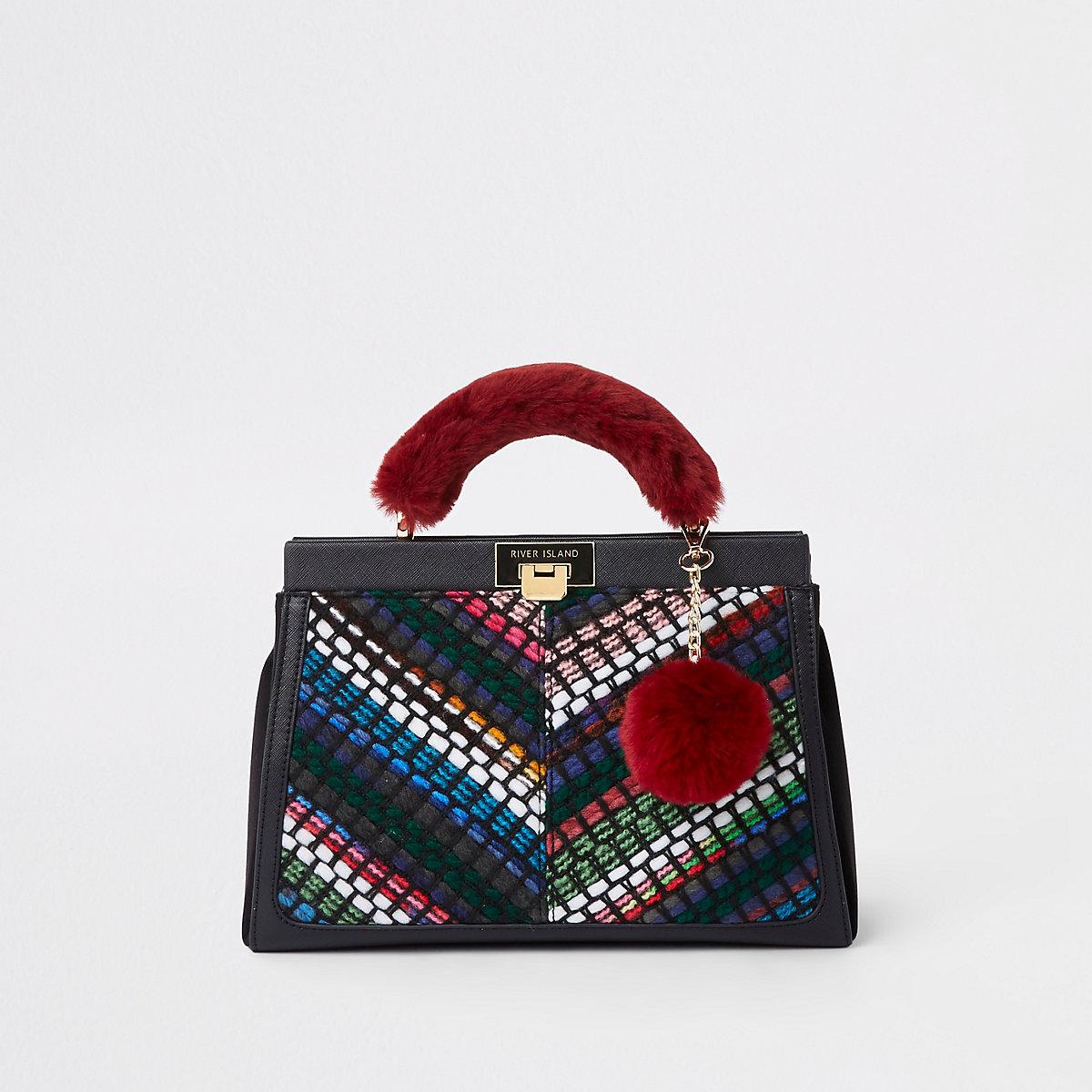 Zwarte handtas met handgreep van imitatiebont