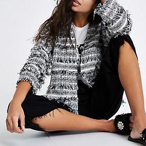 Black and white fringe trophy jacket