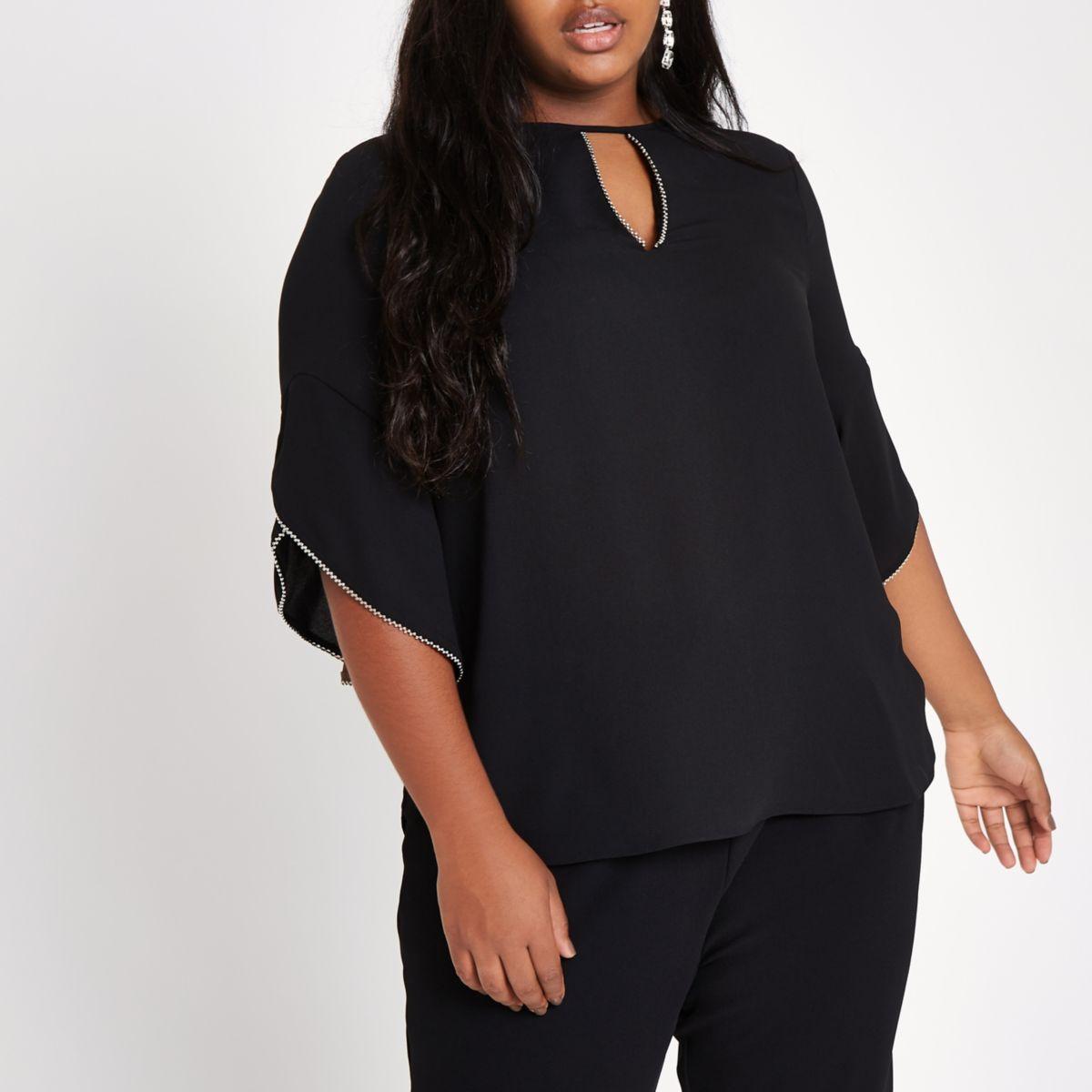 Plus black beaded frill sleeve blouse