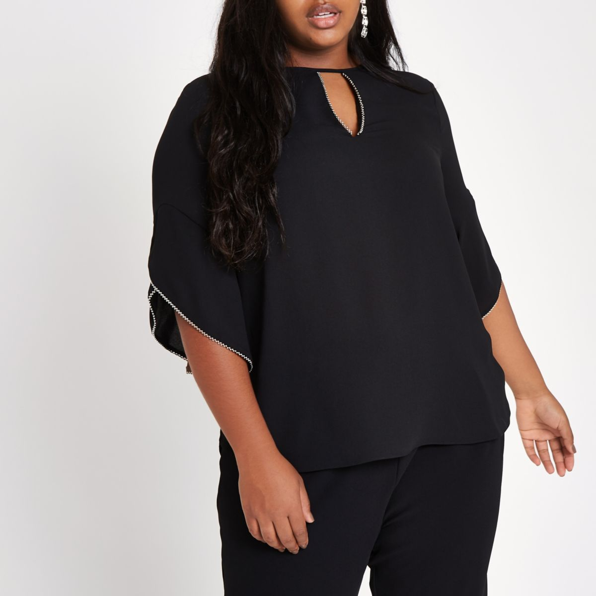 Plus black beaded frill sleeve blouse