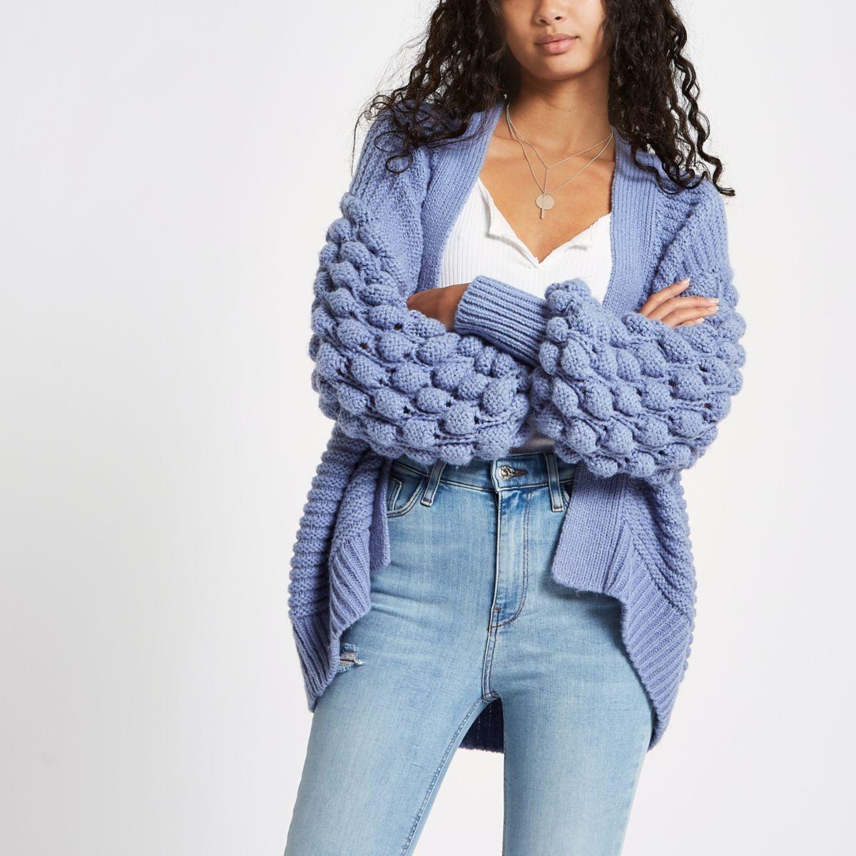 Blue bobble heart knit cardigan