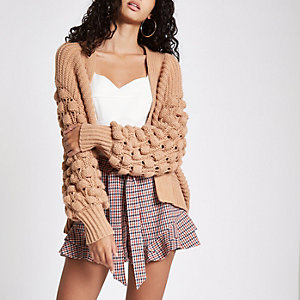 Brown bobble heart knit cardigan