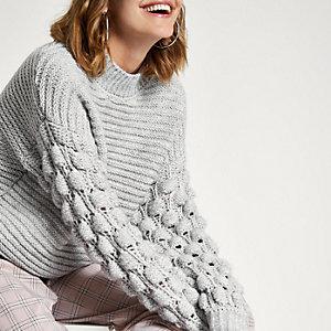 Grey knit bobble sleeve high neck jumper