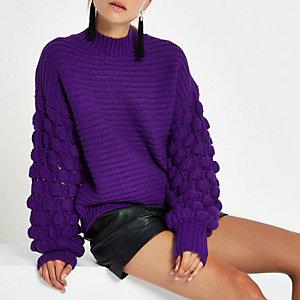 Purple knit bobble sleeve jumper