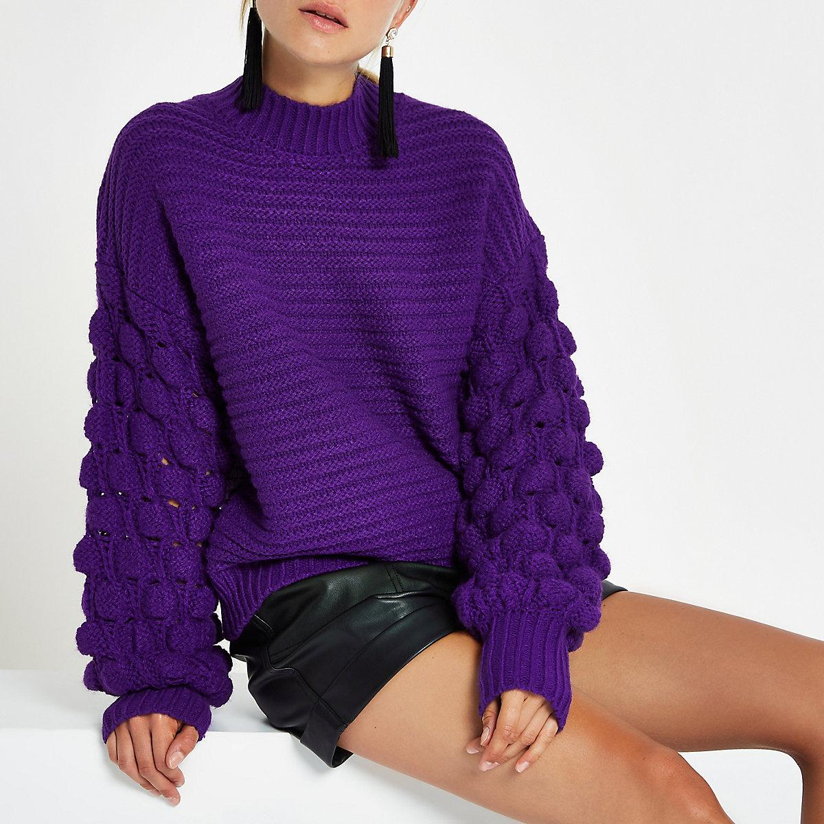 Purple knit bobble sleeve sweater