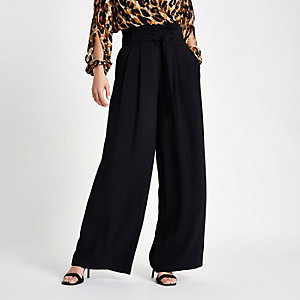 Black tie waist wide leg pants