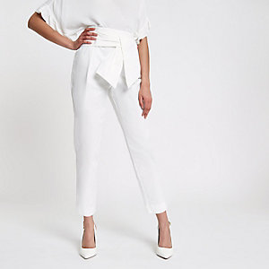 White tie front peg trousers