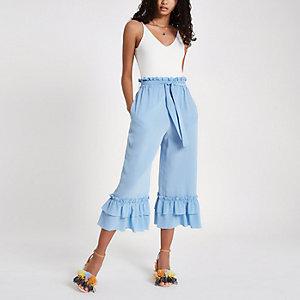 Blue silk tiered frill tie waist culottes