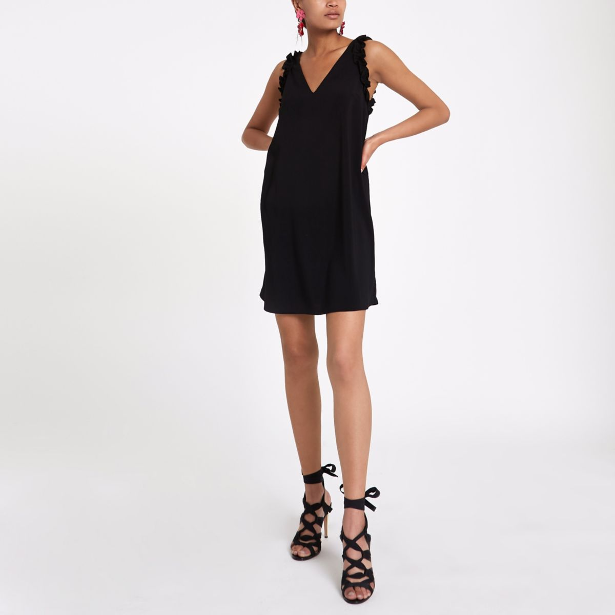 Black frill sleeveless slip dress