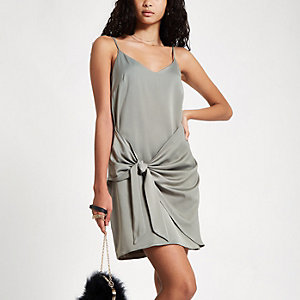 Khaki tie front cami slip dress