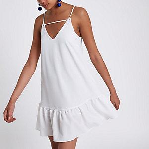 Witte cami-slipdress met verlaagde zoom