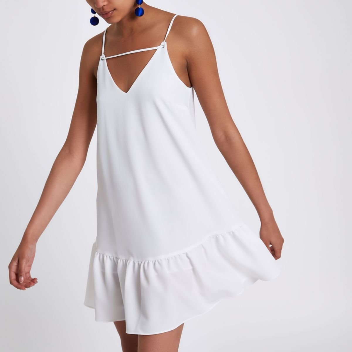 White drop hem cami slip dress