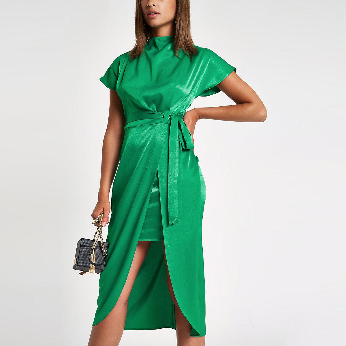 Green wrap tie side midi dress