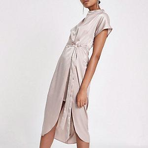 Satin-Kleid in Beige zum Binden