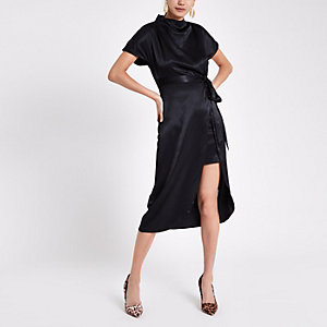 Black high neck tie side dress