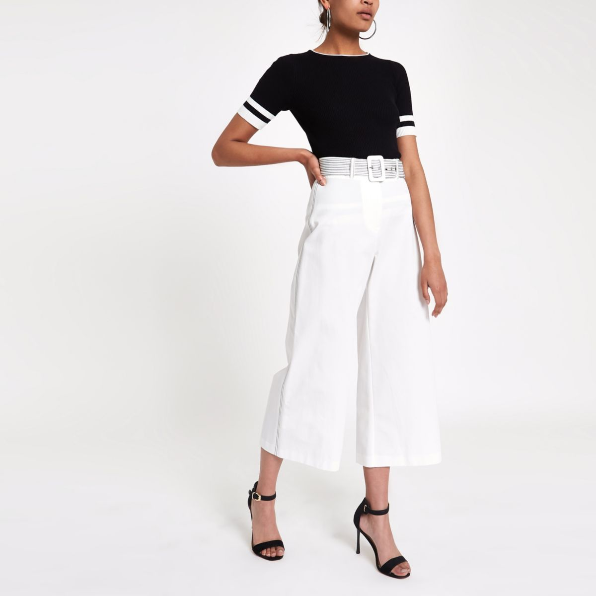 White contrast stitch belted culottes