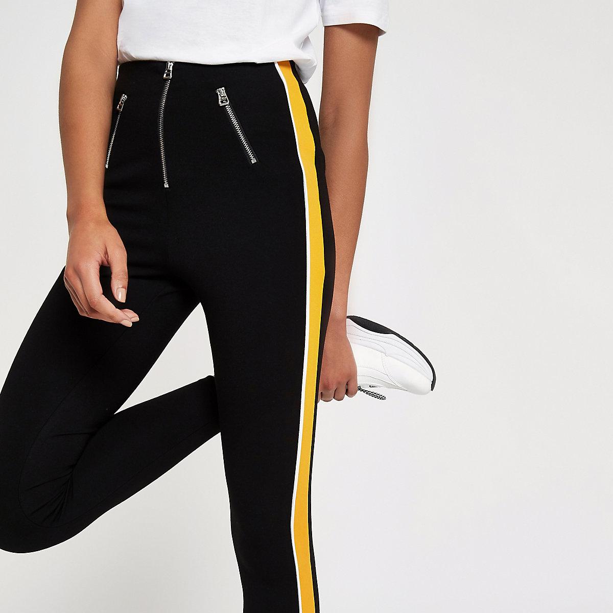 Black stripe side leggings