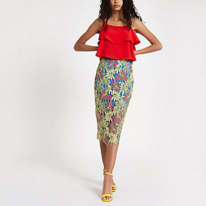 Green leaf lace pencil skirt