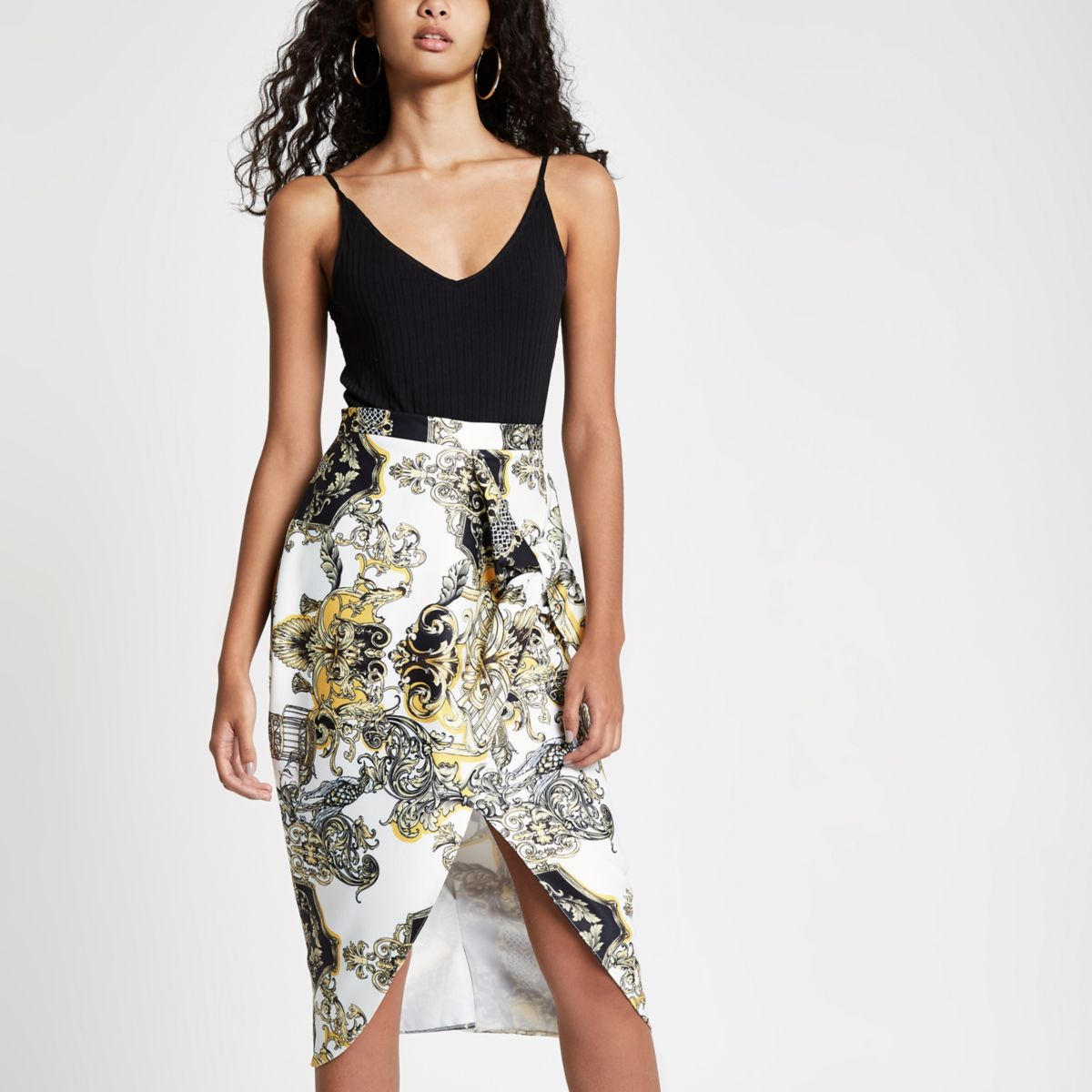 White print tie front pencil skirt