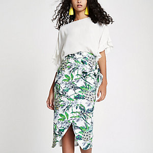 Blue floral tie front pencil skirt