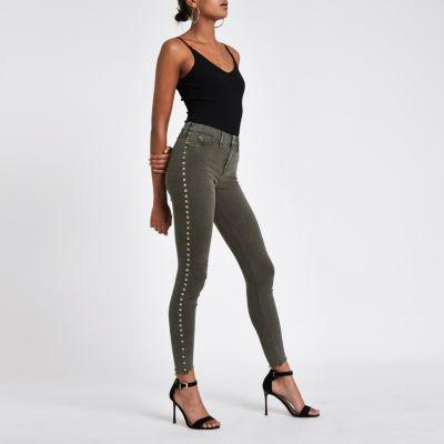 Khaki Studded Molly Jeans