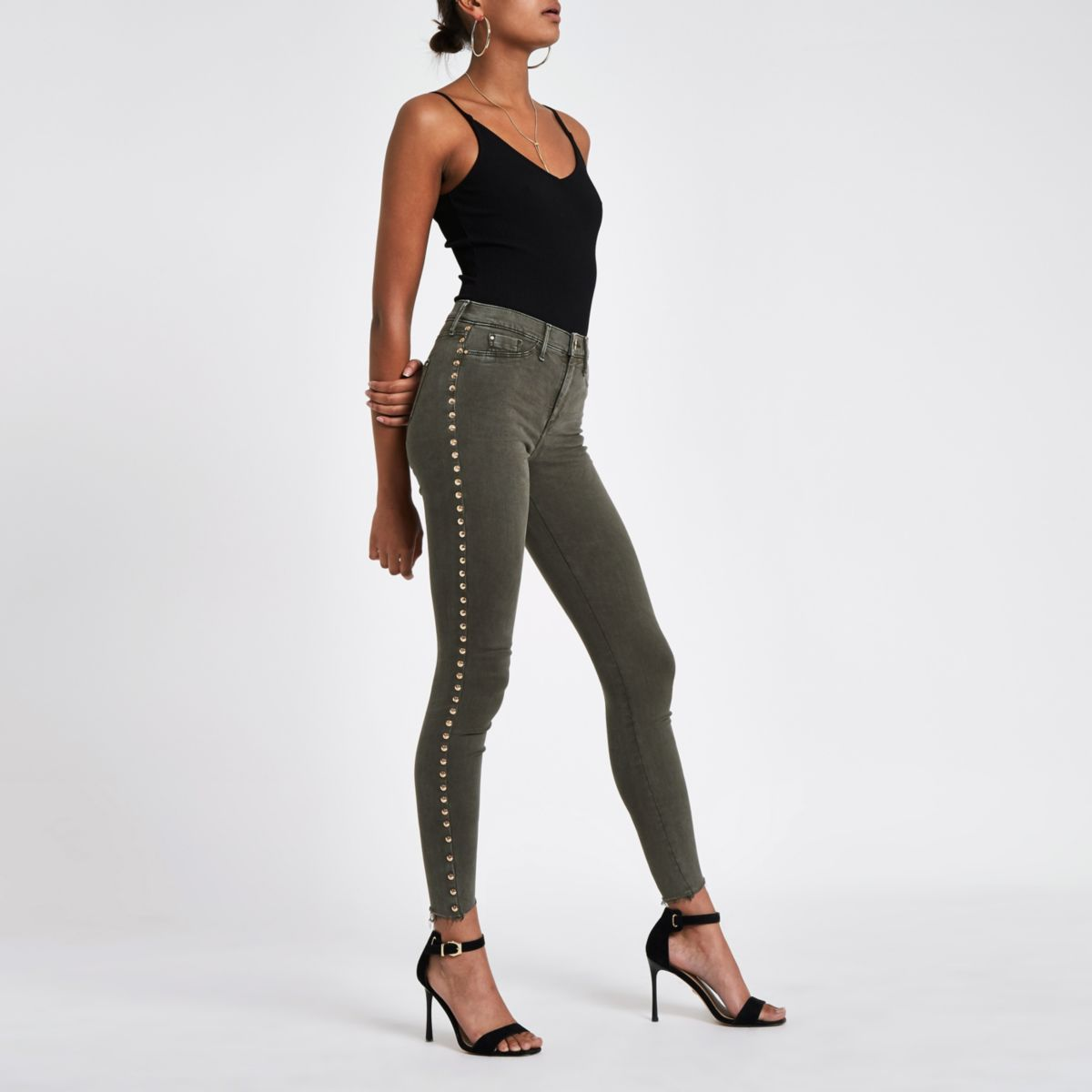 Khaki Molly stud side jeggings
