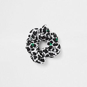 White leopard print scrunchie