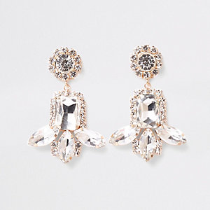 Gold tone jewel rhinestone drop clip on earring