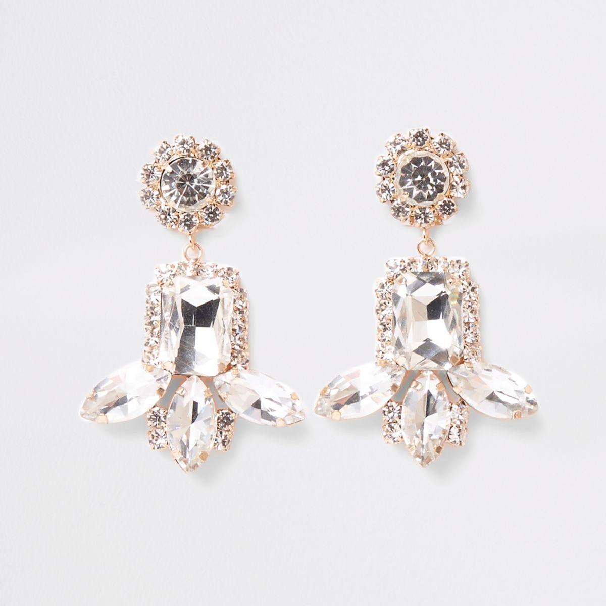 Gold tone jewel rhinestone drop clip on earring