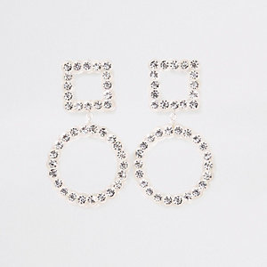 Clear rhinestone embellished stud drop earrings