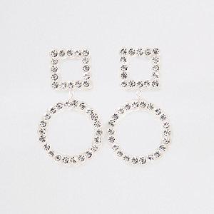 Verfraaide oorhangers met doorzichtig diamantje
