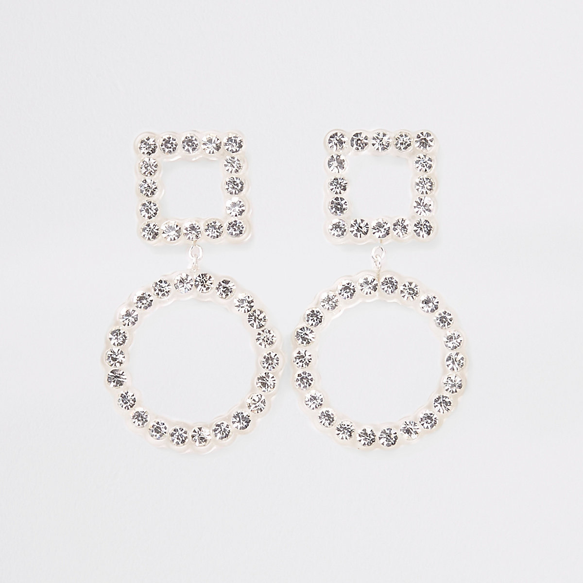Clear diamante embellished stud drop earrings