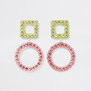 Pink diamante embellished stud drop earrings