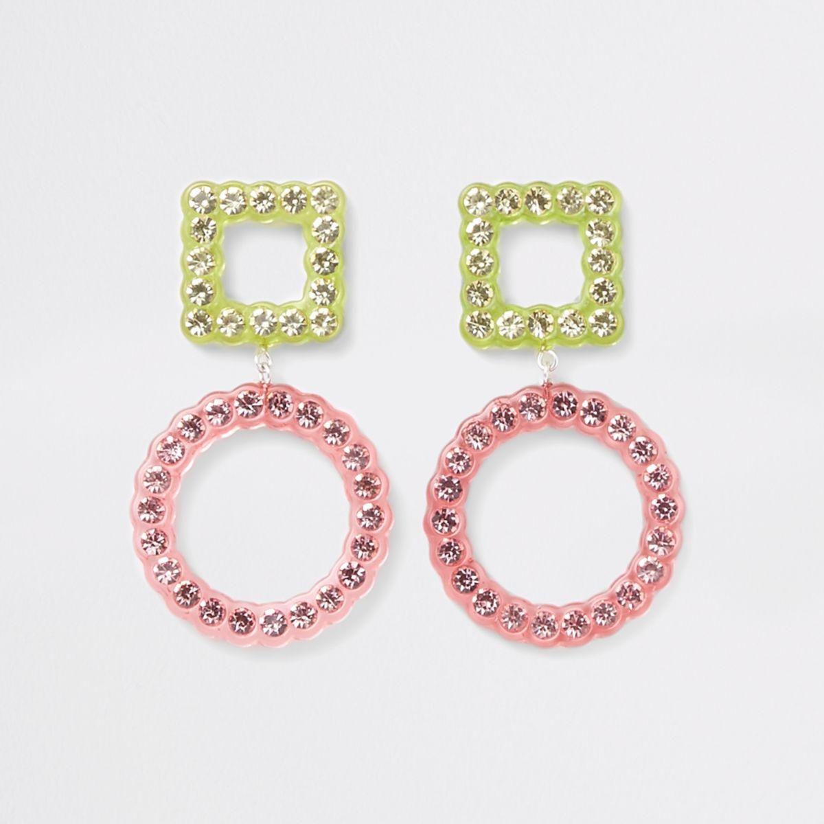 Pink rhinestone embellished stud drop earrings