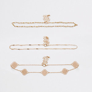 Gold tone filigree beaded choker pack