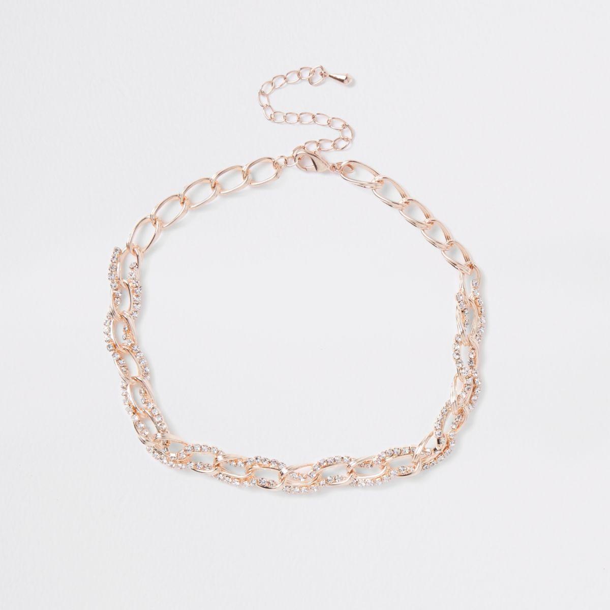 Rose gold rhinestone chain link choker