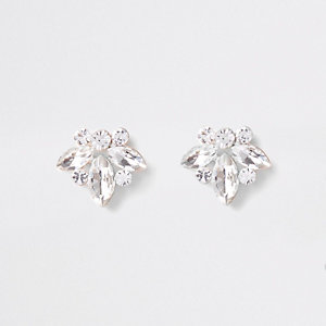 Gold tone jewel leaf stud earrings