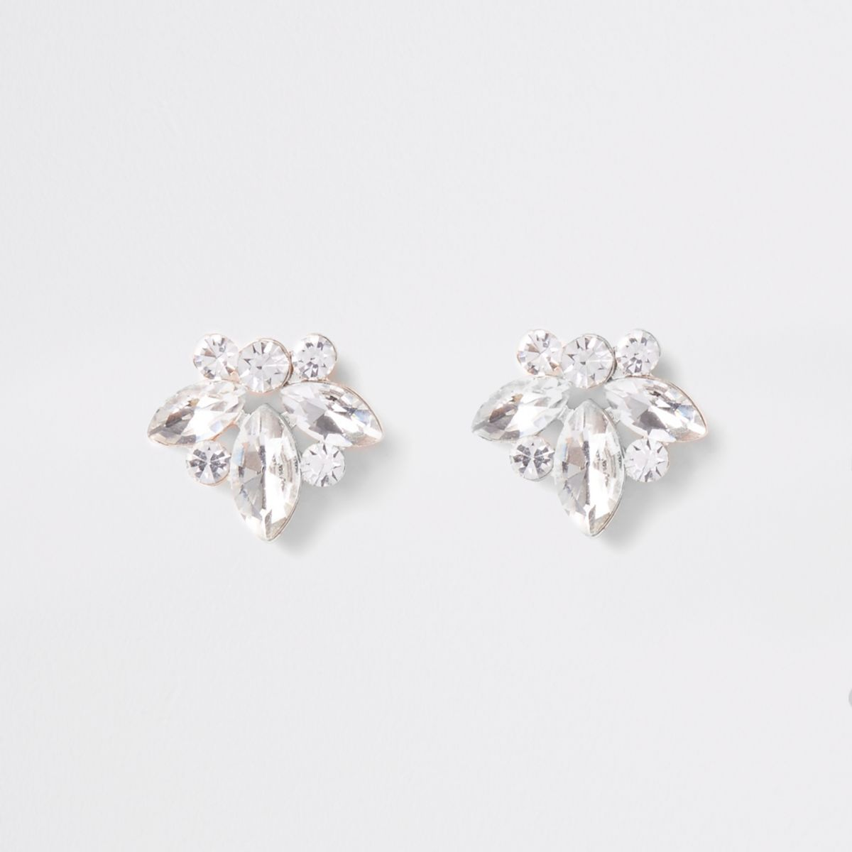 Gold tone jewel leaf stud earrings